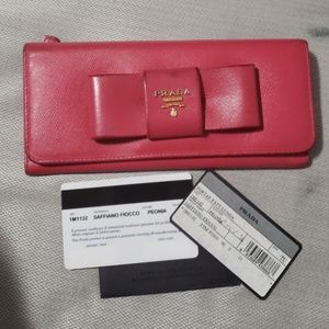 Prada Bow Wallet Peonia 1M1132